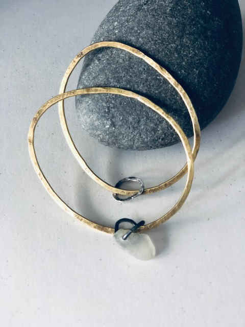 Brass and eco-silver bangle by Sarah Drew
