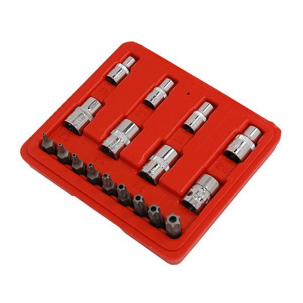 17pc Tamper Proof Torx Star Bit & E Socket Set