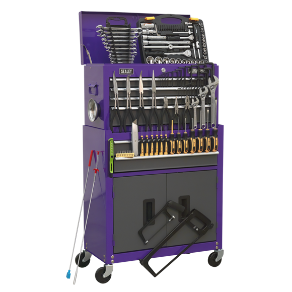 Topchest & Rollcab Combination 6 Drawer with Ball-Bearing Slides - Purple/Grey & 128pc Tool Kit