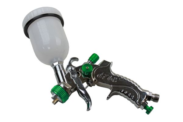 GREEN MINI HVLP GRAVITY SPRAY GUN 120ML CUP 1MM NOZZLE