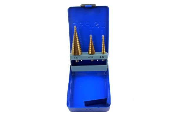3PCS HSS STEP DRILL TITANIUM COATED
