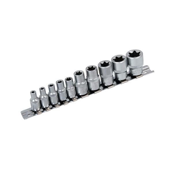 Star Socket Set - 10 Pc On Rail