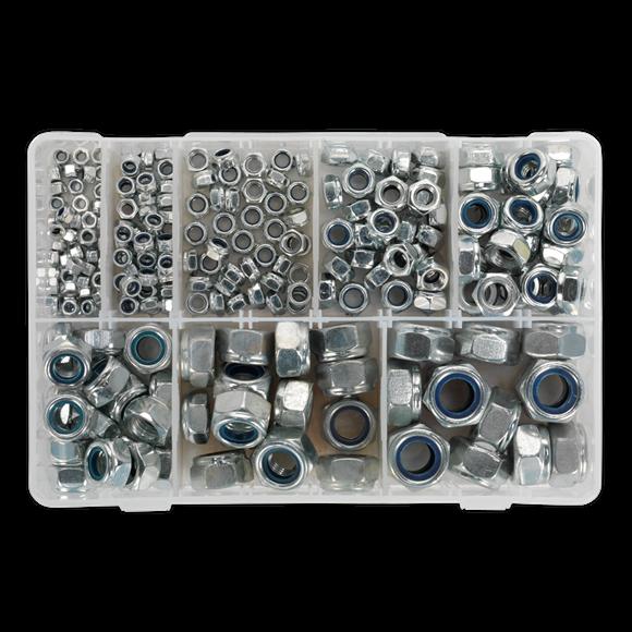 Nylon Lock Nut Assortment 255pc M4-M16 DIN 985