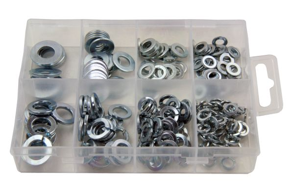 210PC ASSORTED SPRING & FLAT STEEL WASHERS