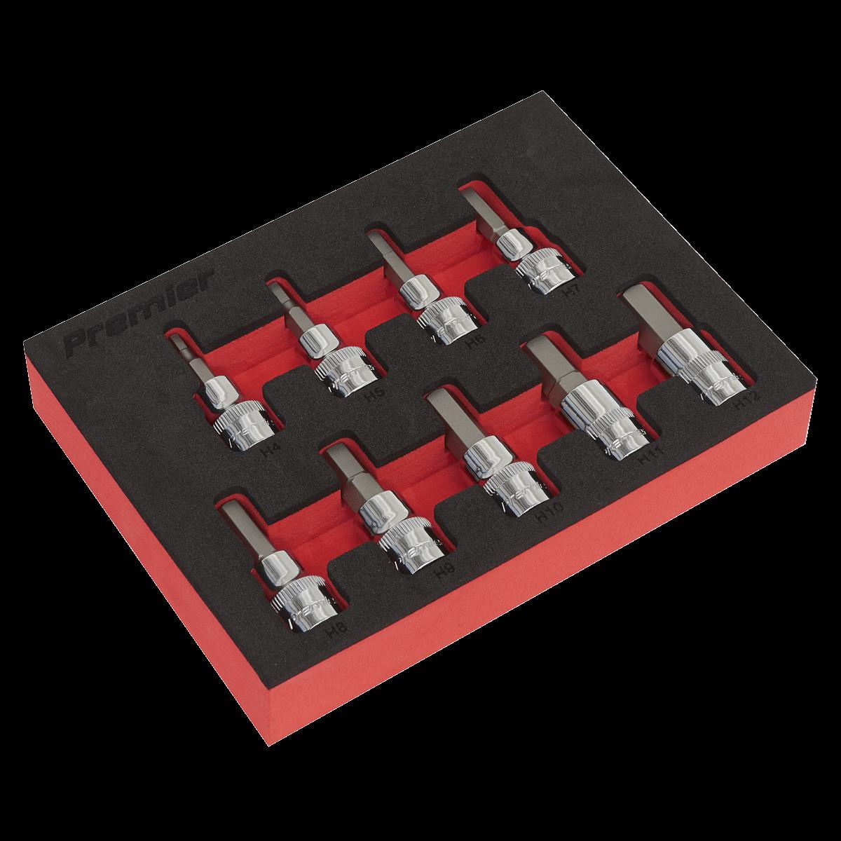 """Hex Socket Bit Set 9pc 3/8""""Sq Drive - Metric"""