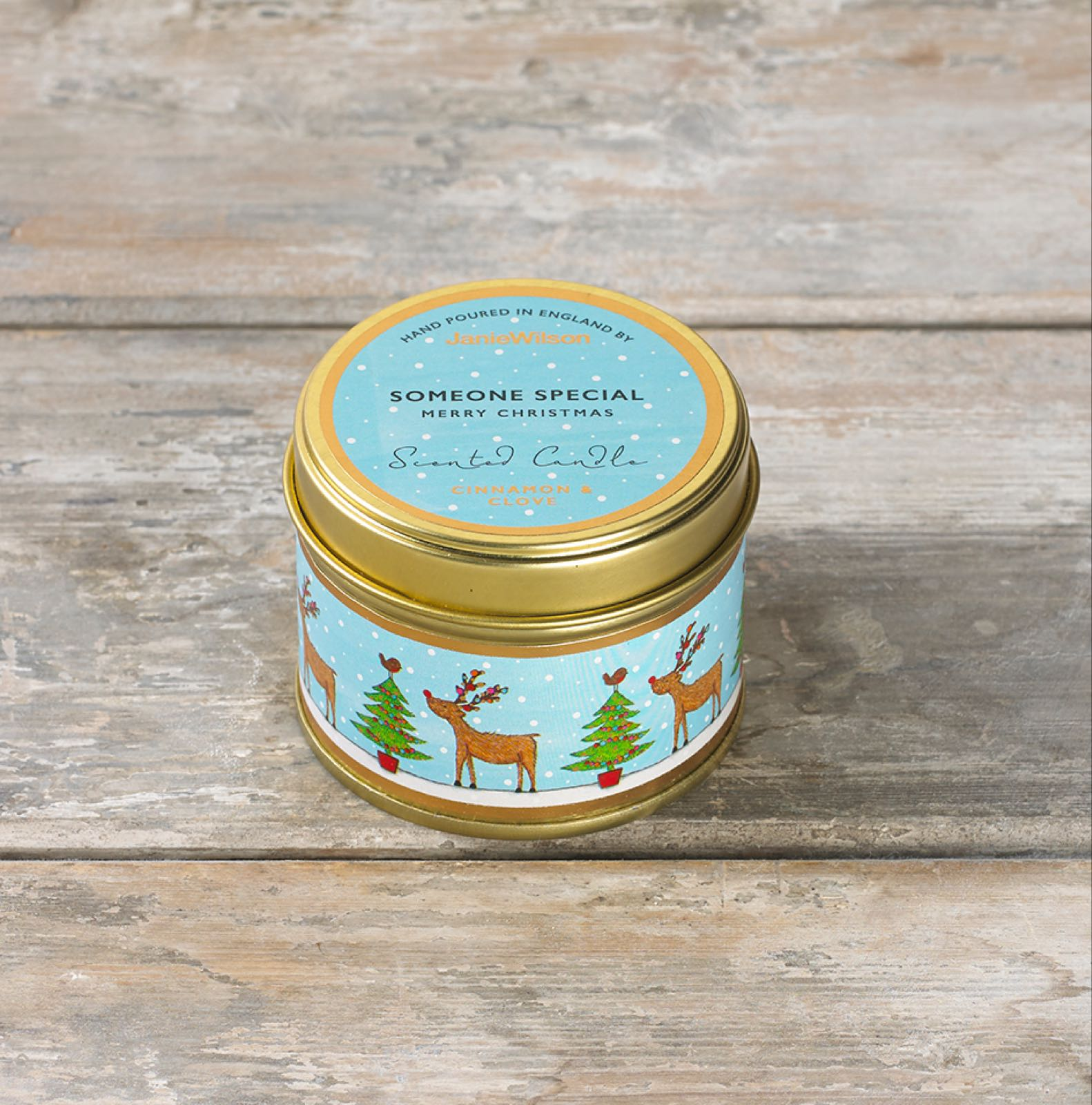 Janie wilson someone special merry Christmas fragranced cinnamon and clove small tinned candle