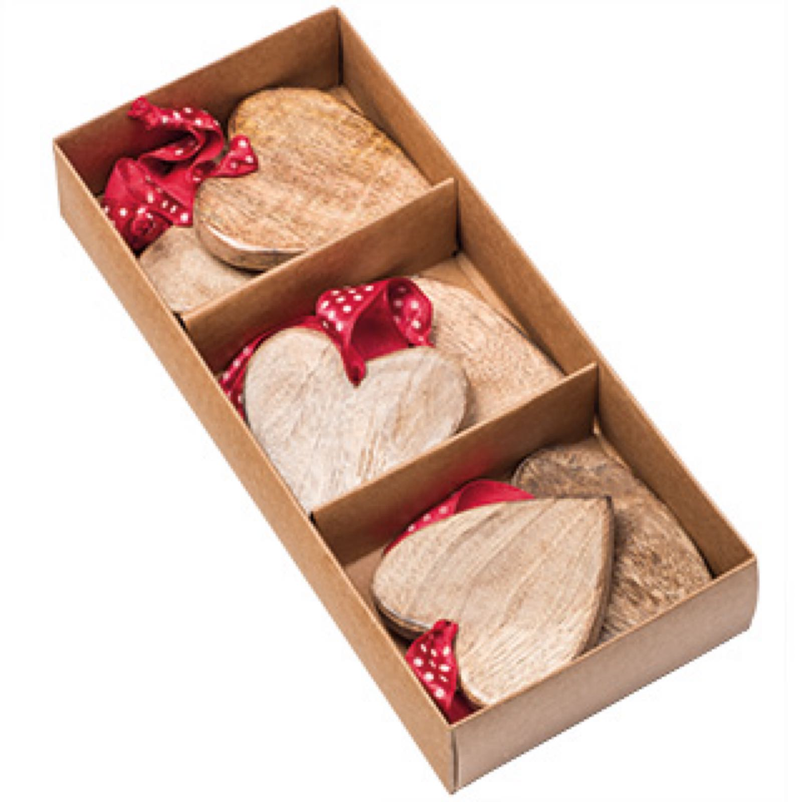 Hanging Wooden Hearts - Set of 6