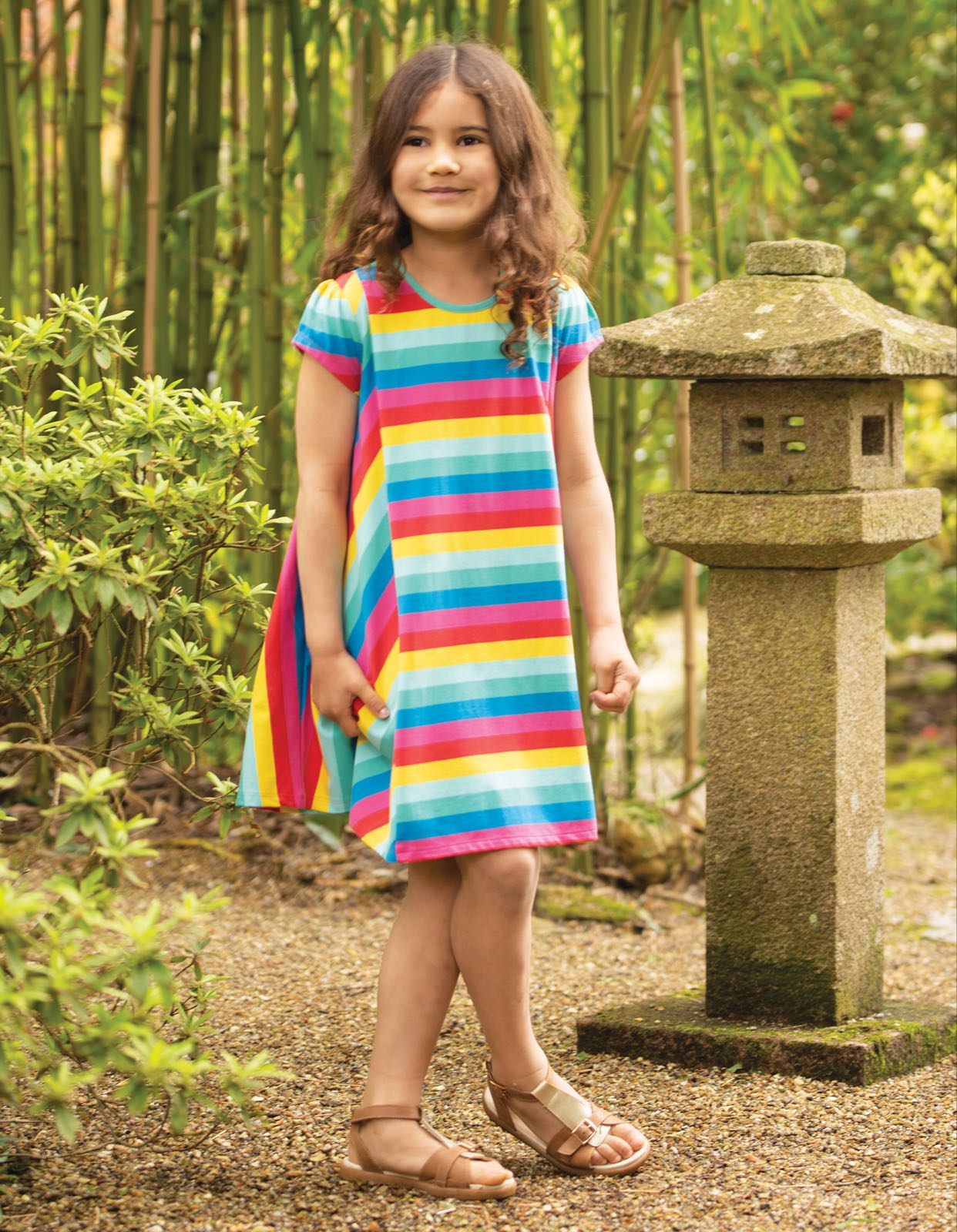 Frugi Elodie Twirly Dress, Flamingo Multi Stripe