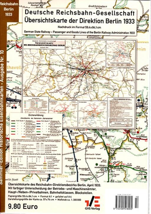 Übersichtskarte der Reichsbahn-Direktion Berlin 1933