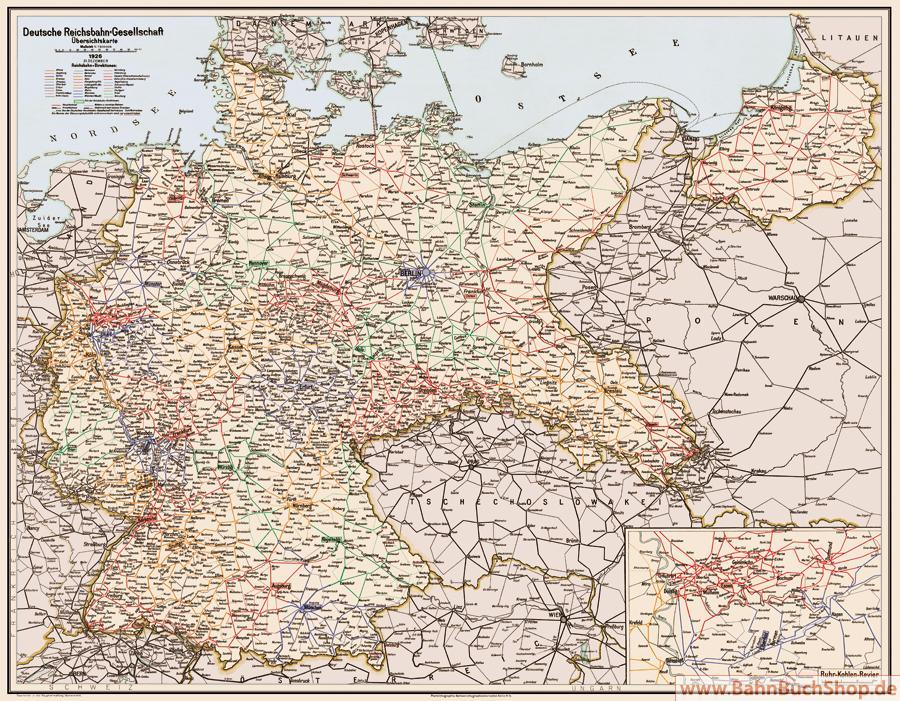 Deutsche Reichsbahn übersichtskarte 1926