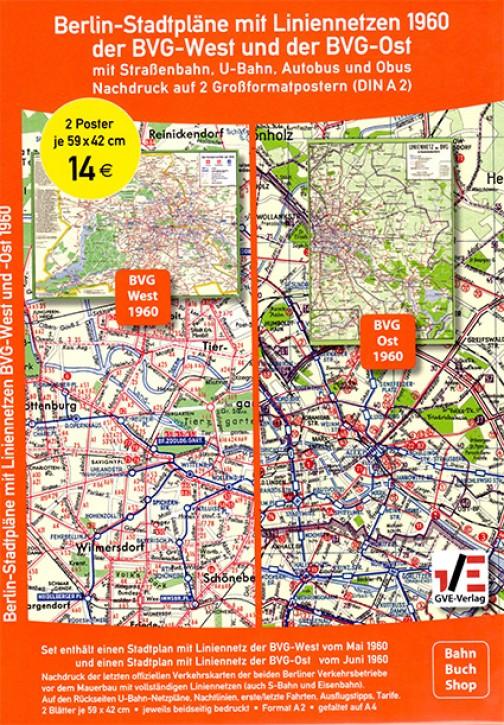 Liniennetz (Stadtplan) BVG-West und der BVG-Ost 1960