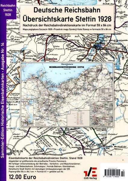 Deutsche Reichsbahn übersichtskarte Stettin 1928