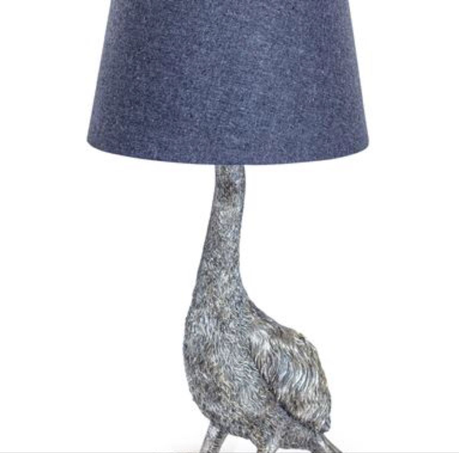 Antique silver Goose lamp with grey lamp shade 30 x 59cm
