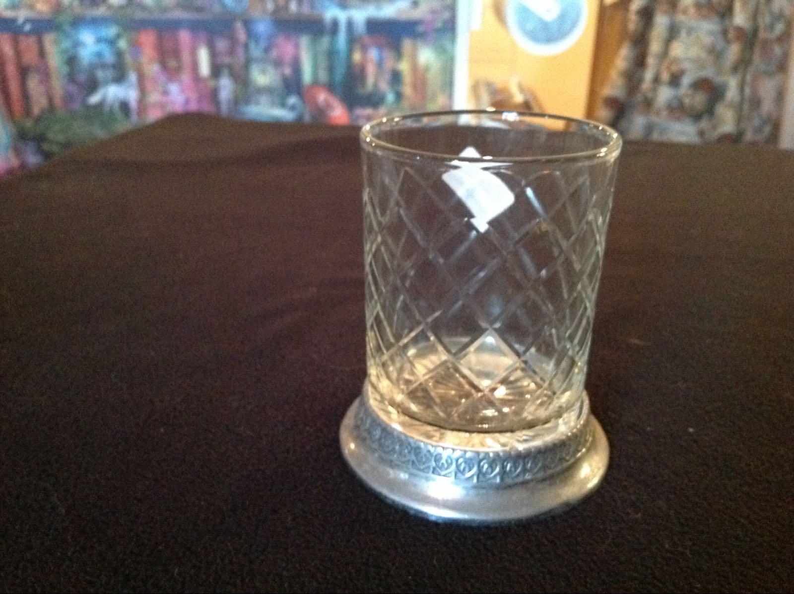 Lykta glas metallfot (second hand, vintage, retro)