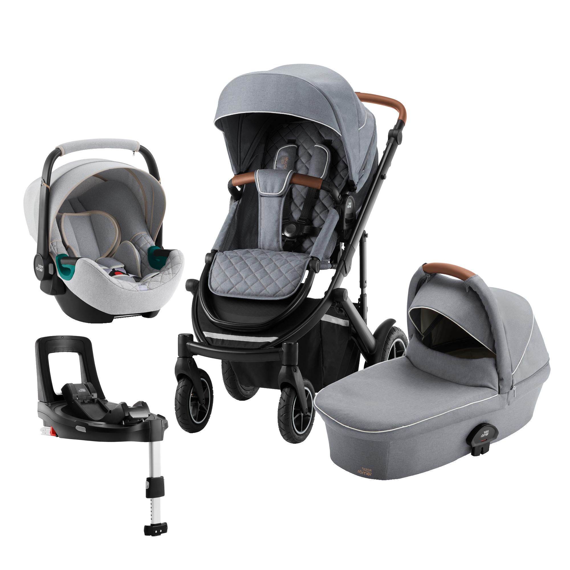 Britax SMILE III Comfort Plus Bundle (Sportwagen + Kinderwagenaufsatz + BABY-SAFE 3 i-Size SMILE + FLEX BASE iSENSE SMILE