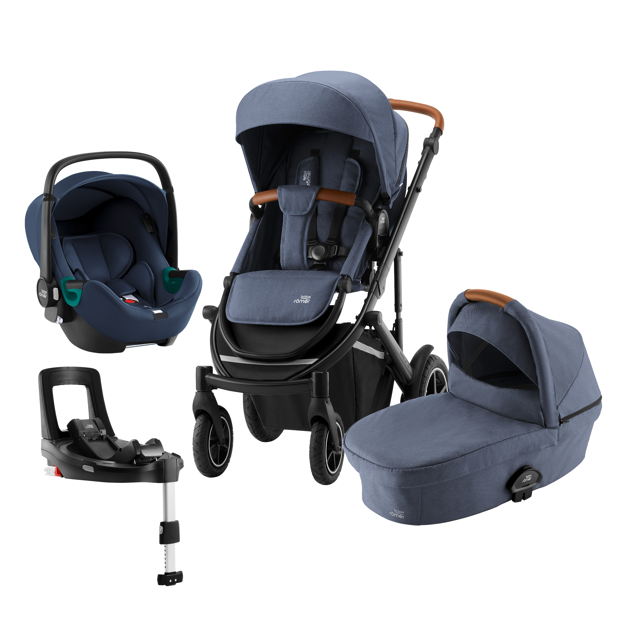 Britax SMILE III Comfort Plus iSENSE Bundle (Sportwagen + Kinderwagenaufsatz + BABY-SAFE iSENSE SMILE + FLEX BASE iSENSE SMILE)