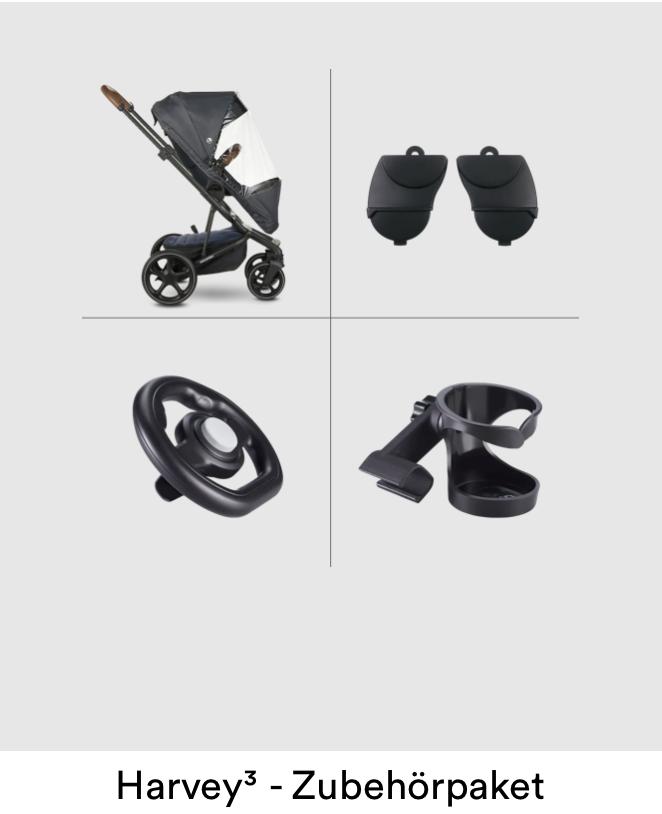 EasyWalker Harvey³ - Zubehör-Paket (Becherhalter, Sportsitz-Regenverdeck, Lenkrad & Höhen-Adapter-Set)
