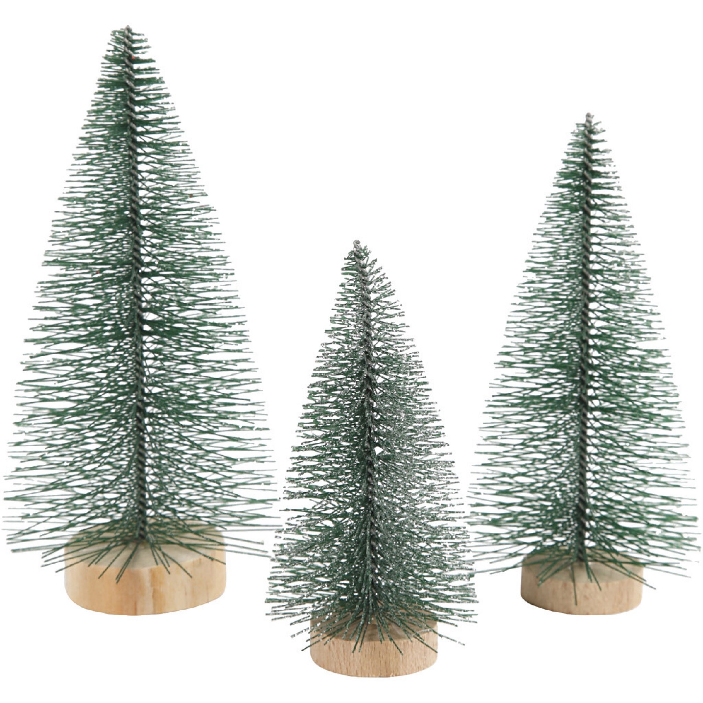 Christmas Spruce Trees, H: 10+13+14 cm, trees, 3pcs