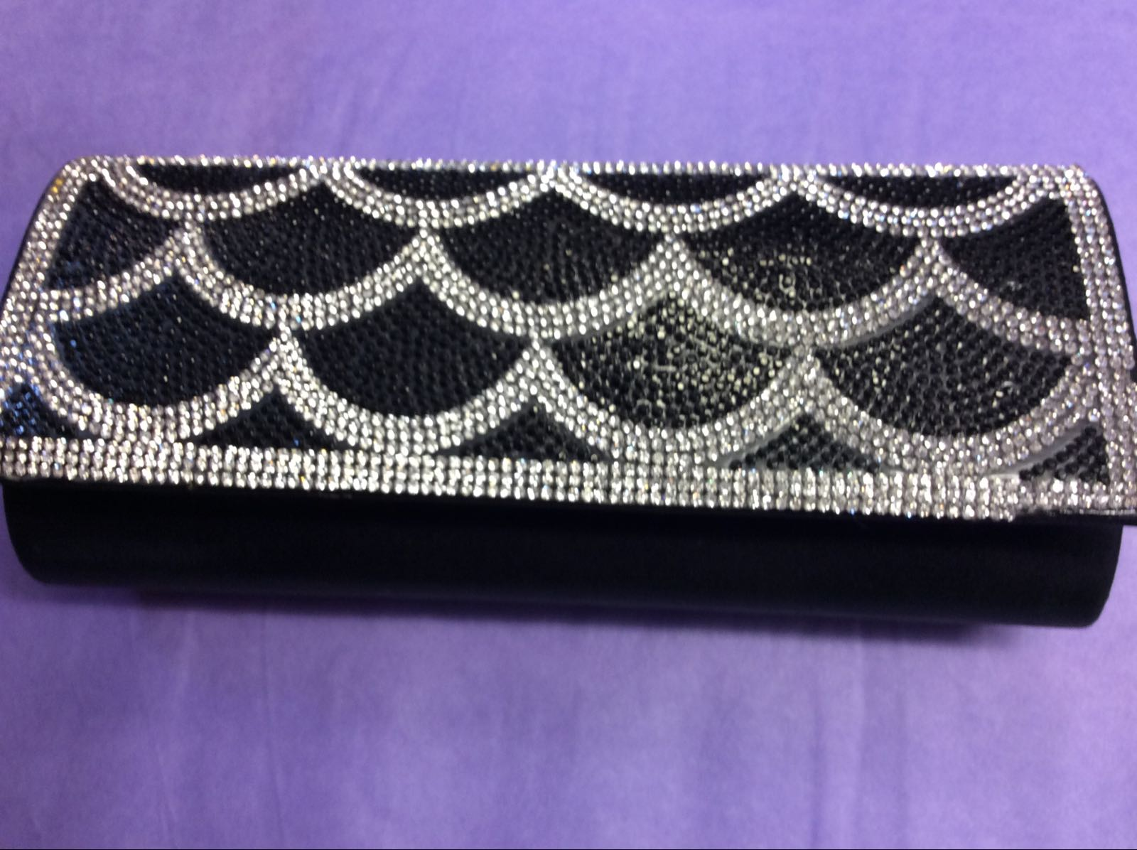 Black & Silver Scallop Clutch Bag