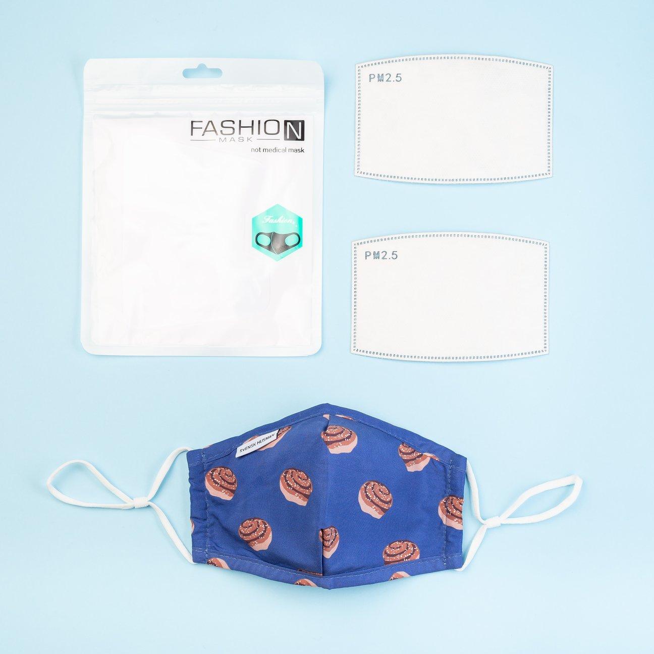 """mund-nase-bedeckung """"zimtschnecke"""", stretchmaterial, mit justierbarem gummiband und 2 austauschbaren filtern, svensk husman"""