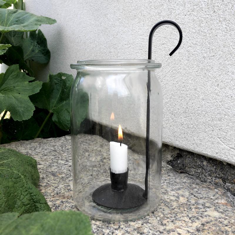 "kerzenhalter/leuchter ""lykta"", geschwärztes gusseisen, ca. 20 cm hoch, våges"