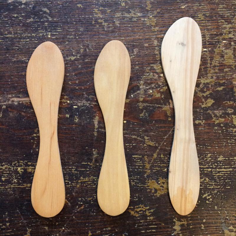 """buttermesser """"servera"""", verschiedene holzarten, 15 bzw. 17 cm, spegels"""