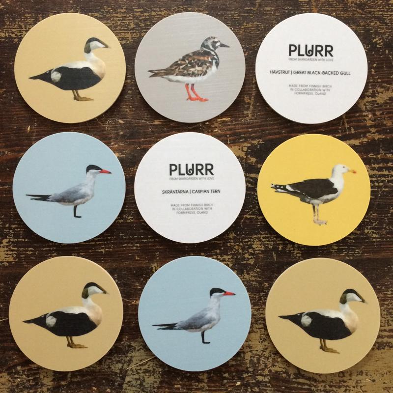 "untersetzer ""seevögel"", beschichtetes holz, Ø ca 8 cm, plurr"