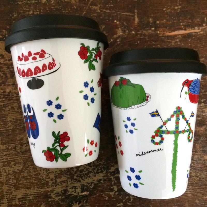 "coffee-to-go-becher ""sweden symbols"", porzellan, ca 15 cm hoch,  tina backman"