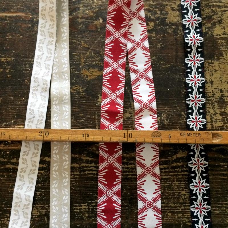 meterware bänder, verschiedene designs, ca. 2,5 cm breit, 100 % baumwolle, shyness