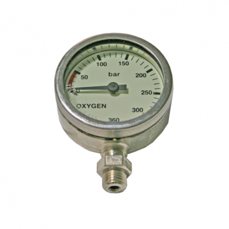 DIRZone 52mm 270 bar Oxygen Nickel Plated Pressure Gauge