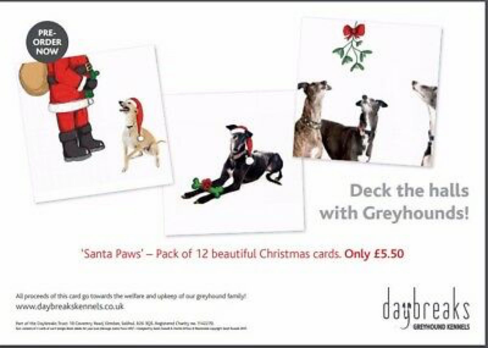 (A) Daybreaks Christmas cards Santa Paws