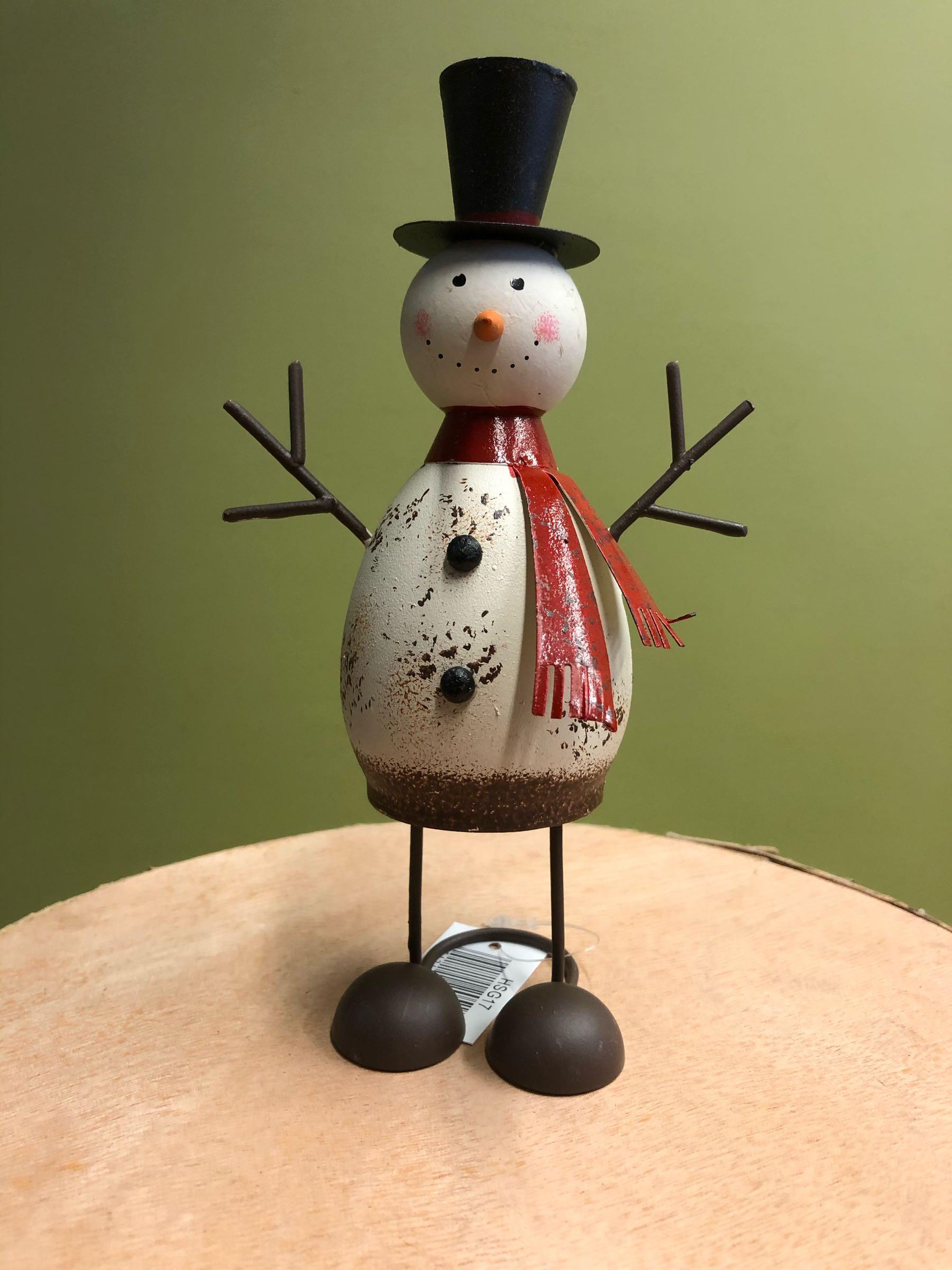 Metal snowman 18cm
