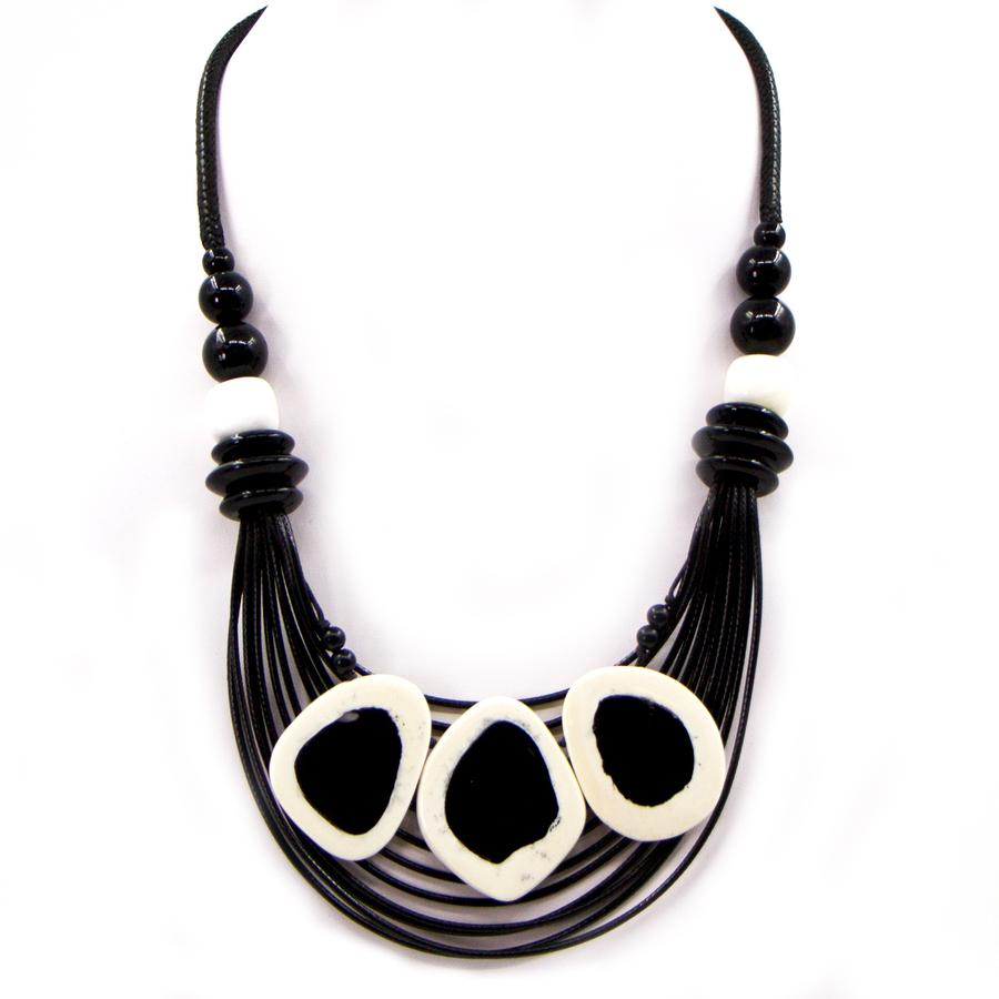TRIPLE IVORY AND BLACK RESIN STATEMENT NECKLACE WITH CORD