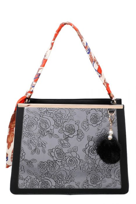 SALE WAS £48 NOW £25 Scarf Handle Embossed Bag With detachable Shoulder Strap