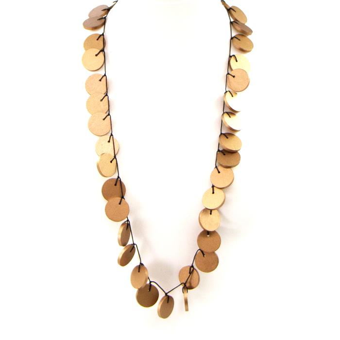 MULTI DISCS LONG WOODEN NECKLACE