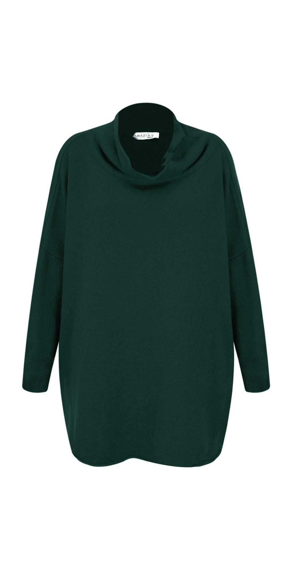 Green - Vera Funnel Neck Sweater