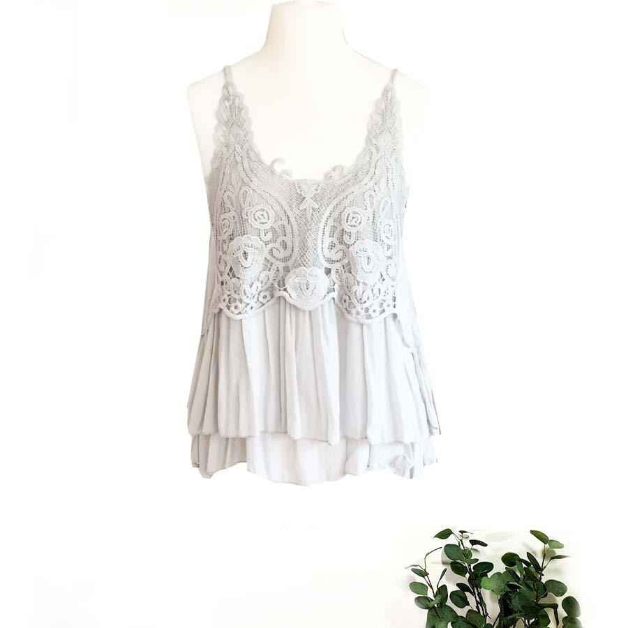 Cotton & Guipure Camisole Top