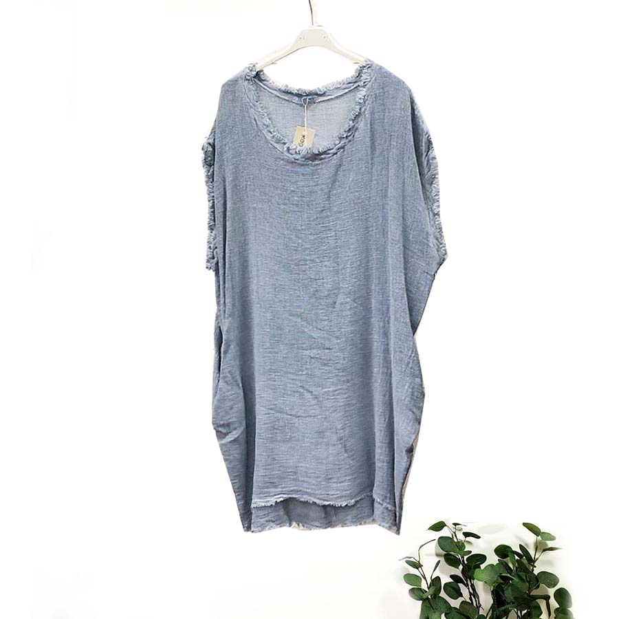 Pure Linen Cotton Tunic Top With Side Pockets