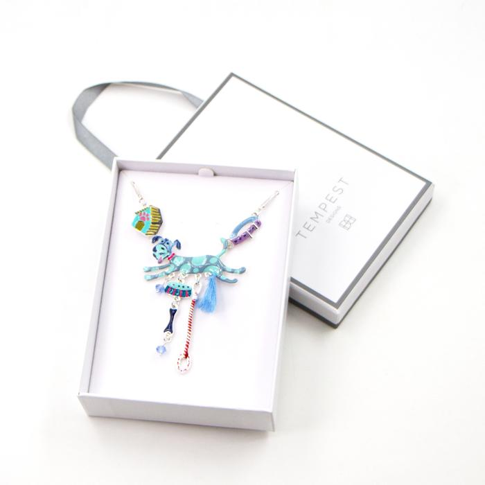 MULTICOLOUR CRAZY DOG NECKLACE WITH LITTLE TASSEL