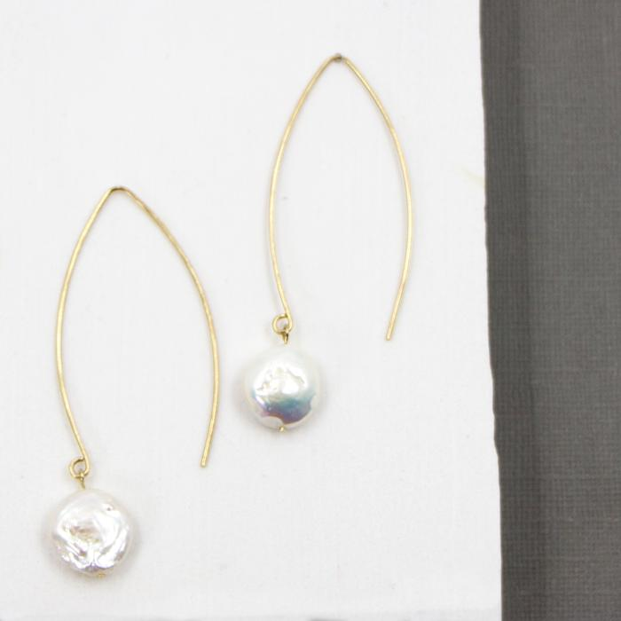 REAL BUTTON PEARL EARRINGS ON FINE POST