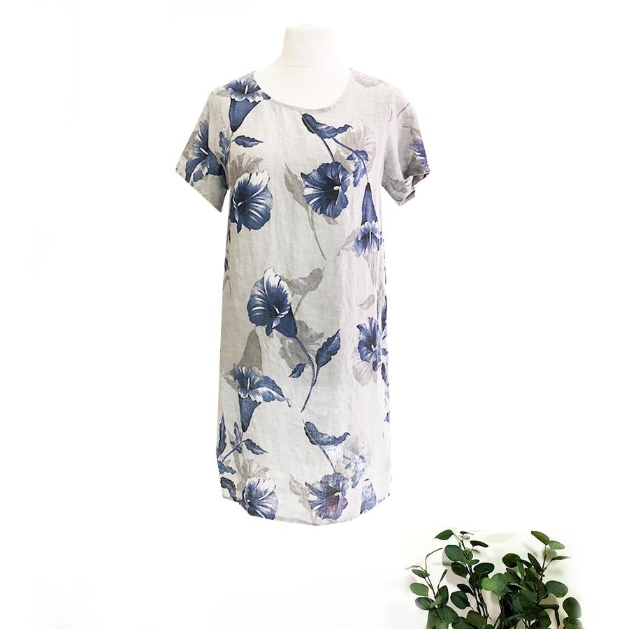 Linen Navy Flower Dress