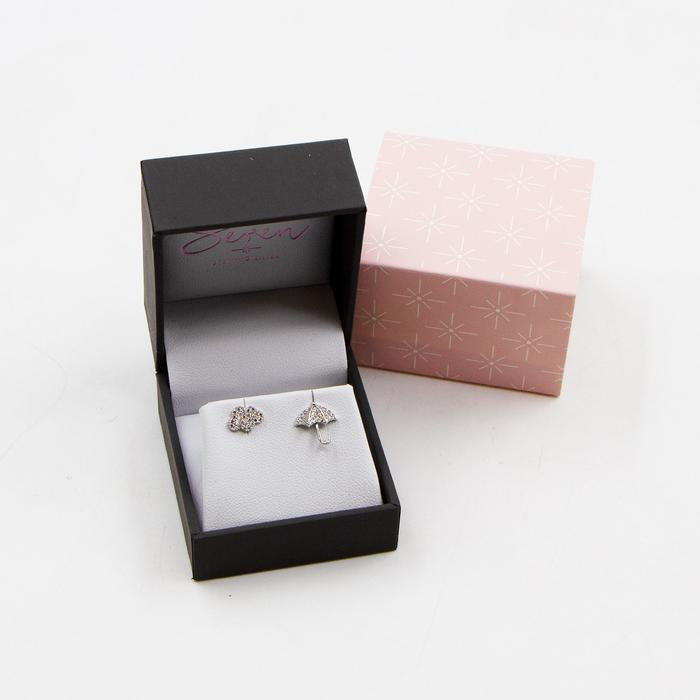 SEREN LITTLE UMBRELLA AND CLOUD SILVER STUD EARRINGS WITH CZ