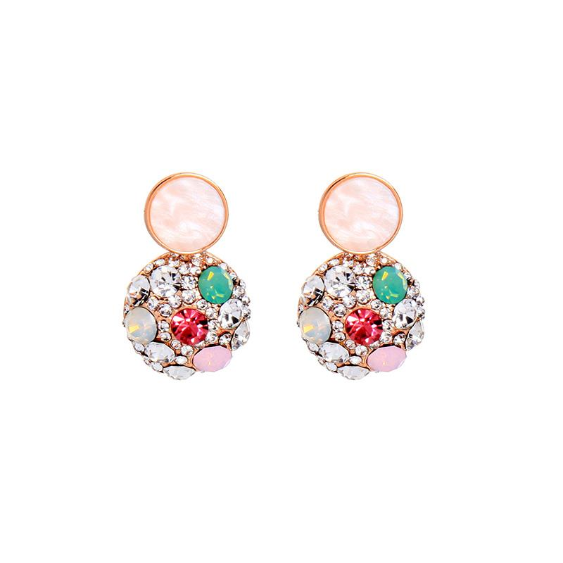 Pearl disc & crystal encrusted sphere earring in rose gold