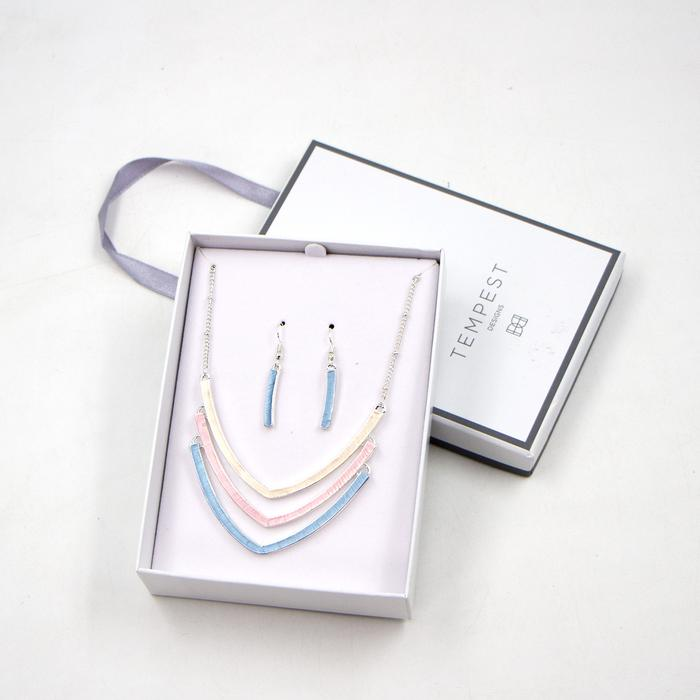 TRIPLE BAR CONTEMPORARY NECKLACE AND EARRING SET IN ENAMEL