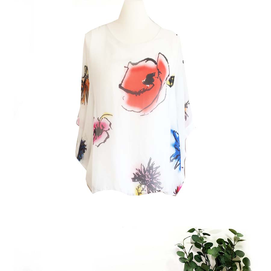 Painted Flowers Silk Top Sarah Tempest Designs