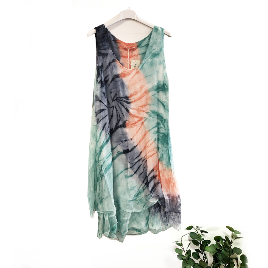 Tie Dyed Silk Dress In A choice Of Colours