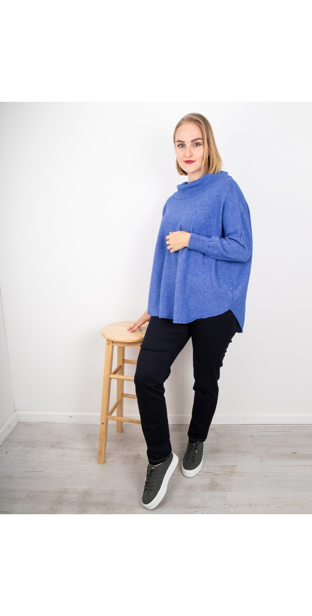 Royal Blue - Vera Funnel Neck Sweater