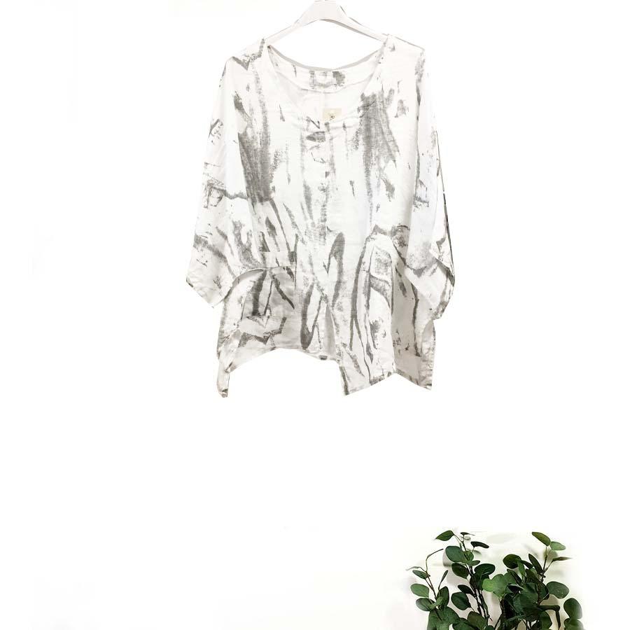 Tie Dye Abstract Print Linen Top