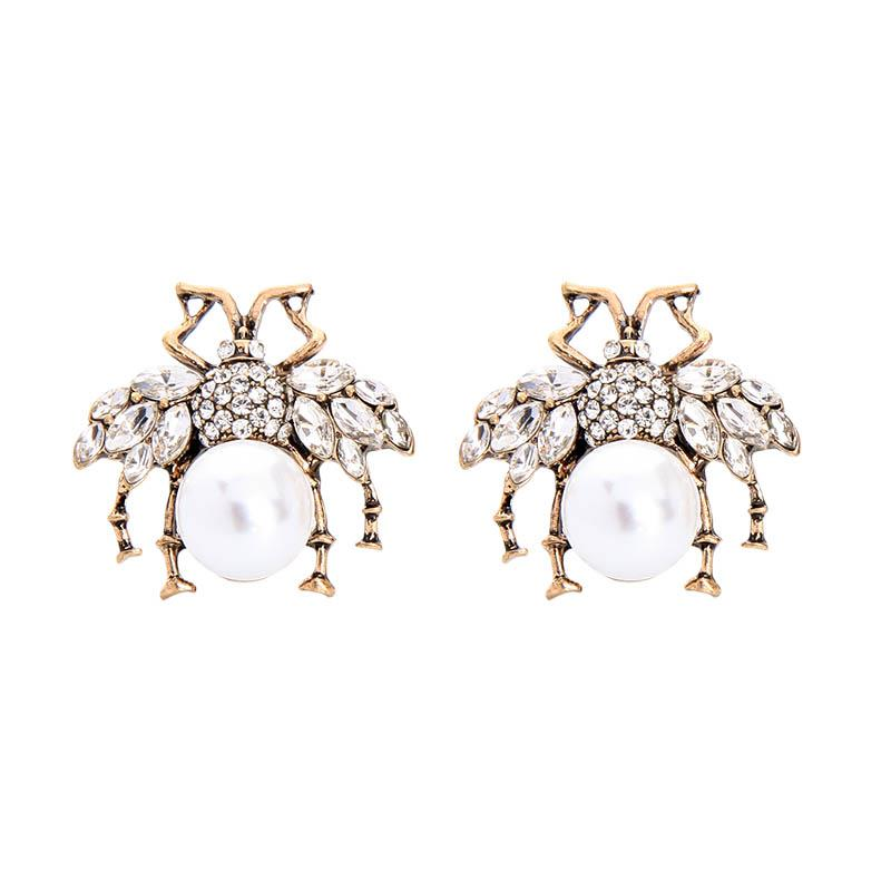 Large crystal bee earrings