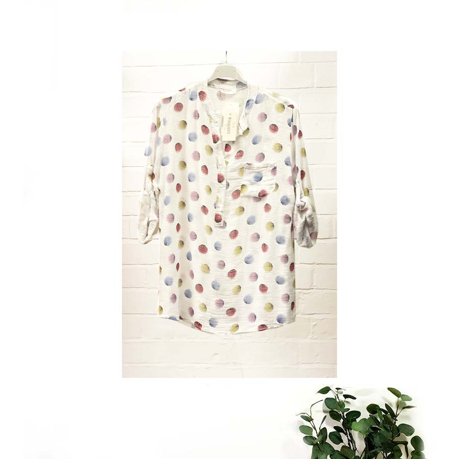 Made In Italy Cotton Linen Blouse